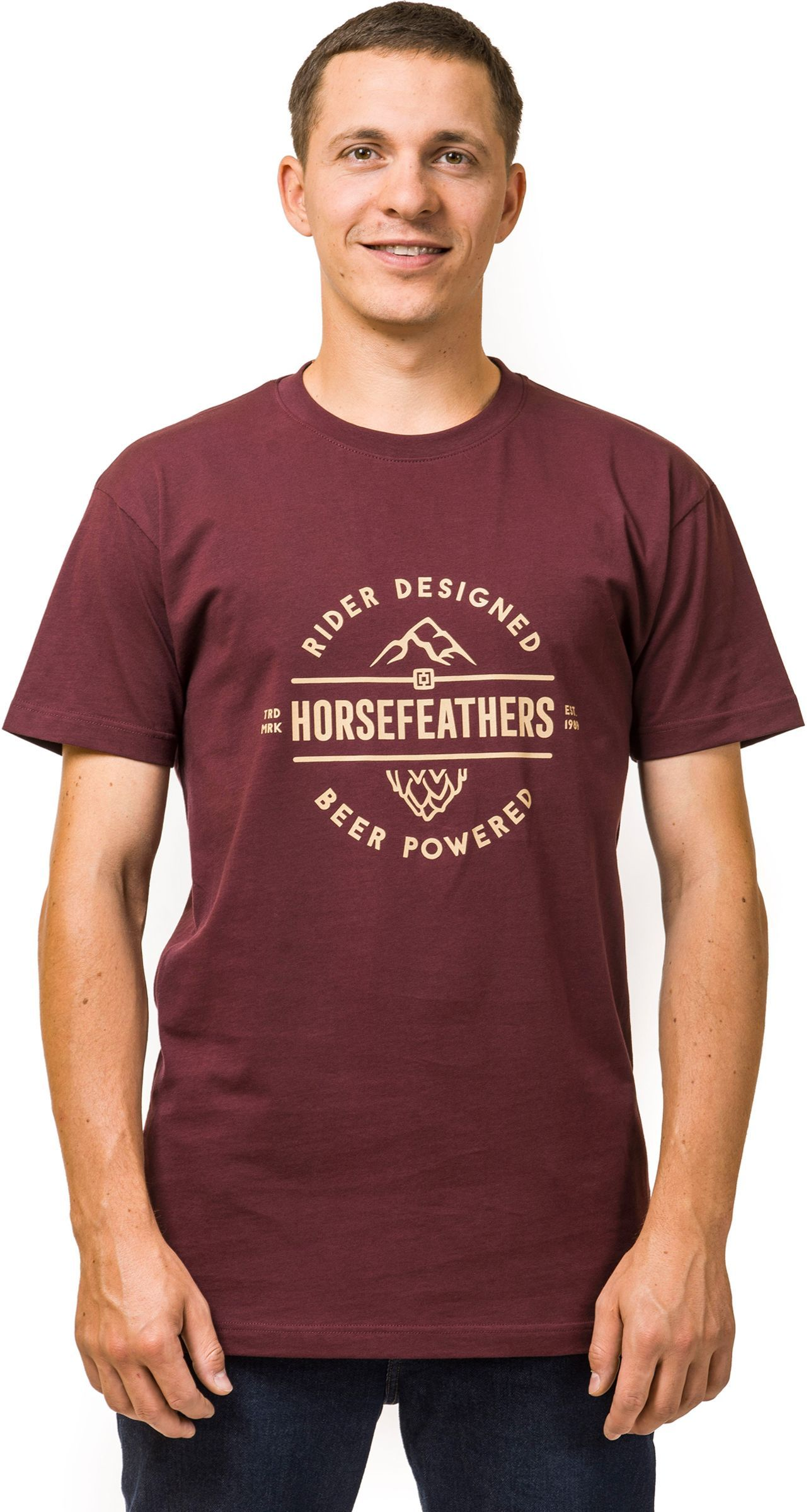 3672e29b311a pánske tričko horsefeathers MT. HOP T-SHIRT (burgundy)